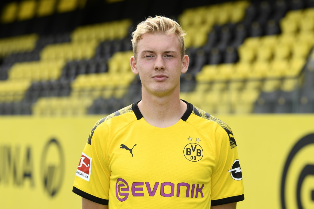 DORTMUND, GERMANY - AUGUST 06: Julian Brandt of Borussia Dortmund poses during the team presentation at the Dortmund Training Ground on August 6, 2019 in Dortmund, Germany. (Photo by Pool/Bongarts/Getty Images)