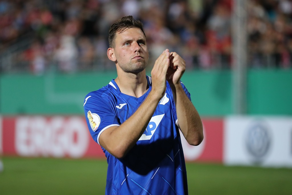 WUERZBURG, GERMANY - AUGUST 10: Adam Szalai of TSG 1899 Hoffenheim celebrates victory with fans after the DFB Cup first round match between FC Wuerzburger Kickers and TSG 1899 Hoffenheim at flyeralarm Arena on August 10, 2019 in Wuerzburg, Germany. (Photo by Christian Kaspar-Bartke/Bongarts/Getty Images)