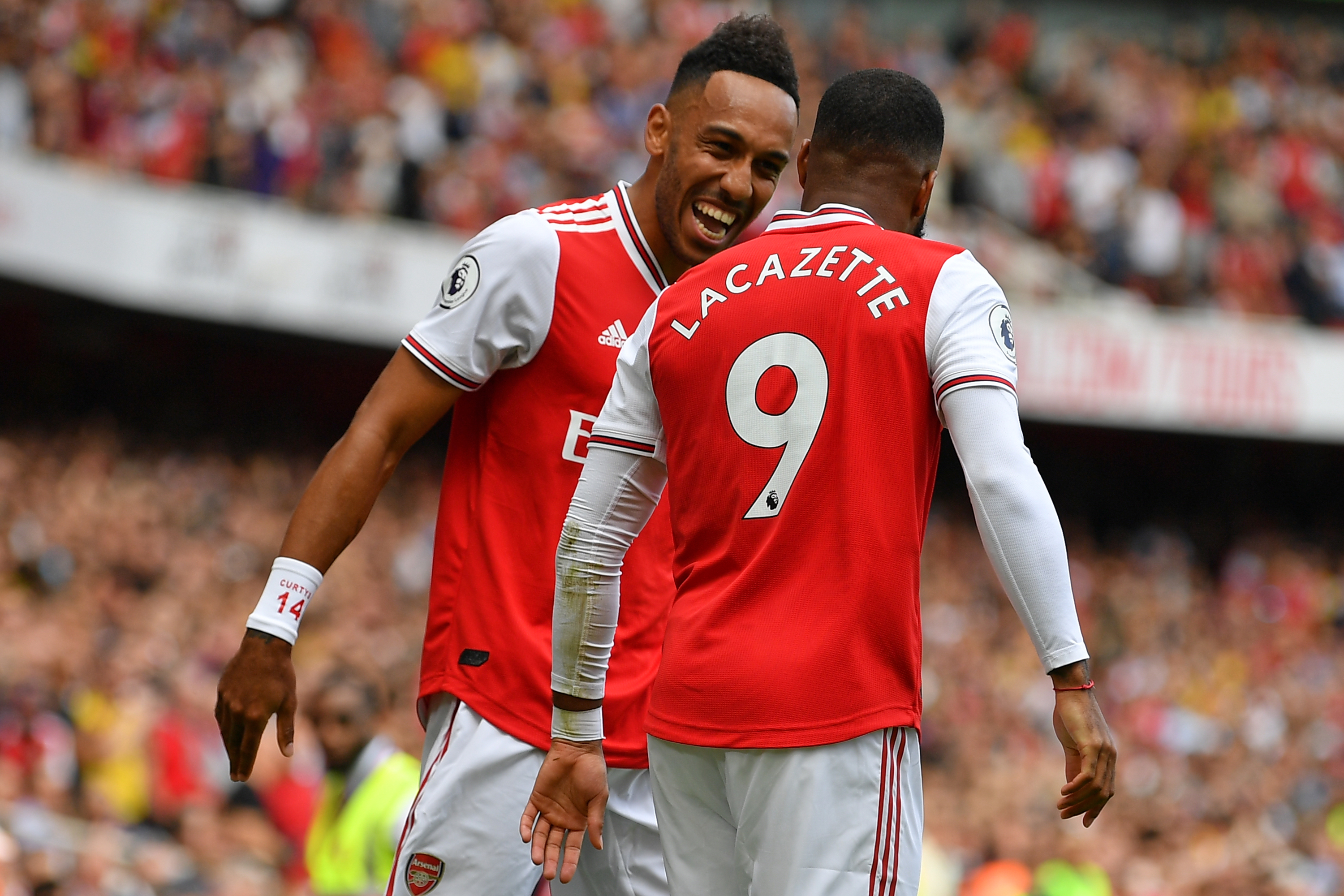 The strike pertnership between Aubameyang and Lacazette resumed against Burnley. (Photo by Daniel Leal-Olivas/AFP/Getty Images)