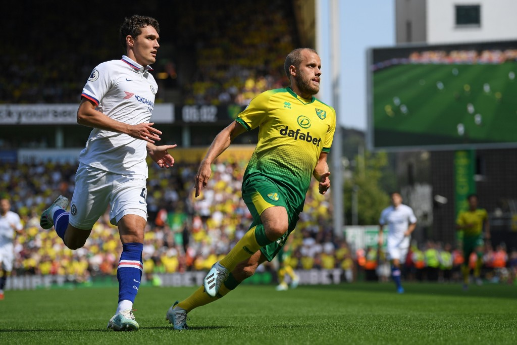 Pukki had the measure of Christensen at times. (Photo by Daniel Leal-Olivas/AFP/Getty Images)