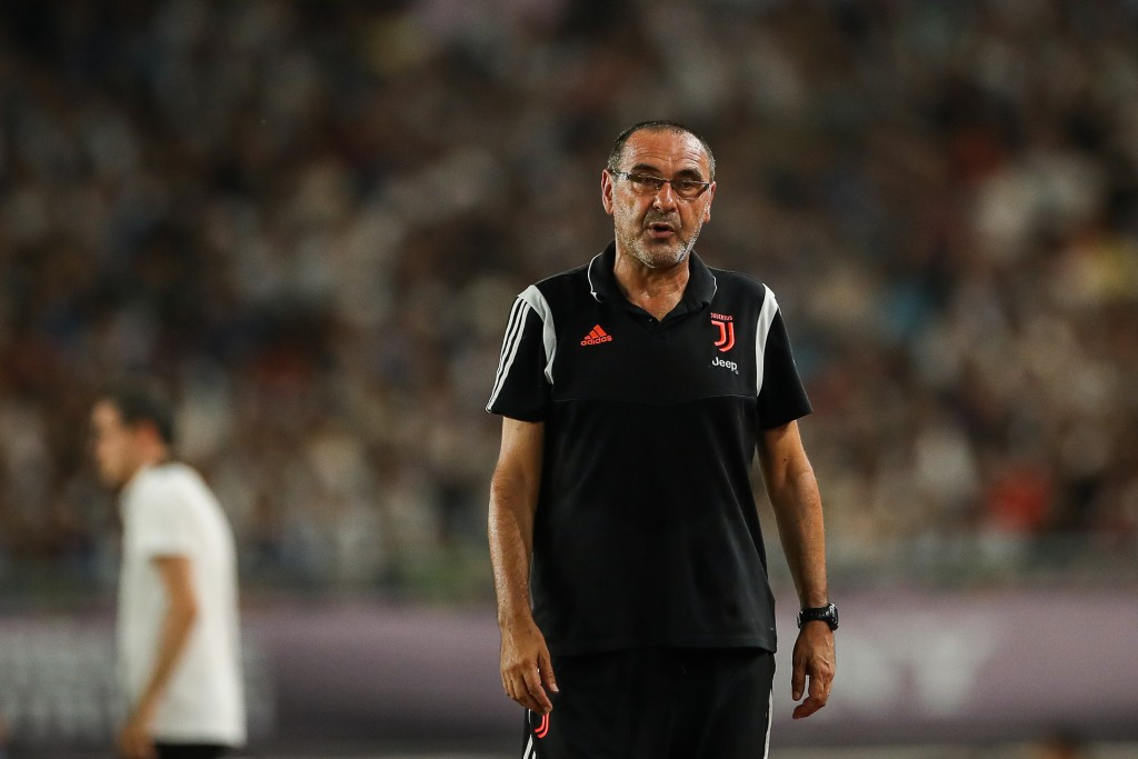 NANJING, CHINA - JULY 24: Maurizio Sarri head coach of Juventus reacts during the International Champions Cup match between Juventus and FC Internazionale at the Nanjing Olympic Center Stadium on July 24, 2019 in Nanjing, China. (Photo by Yifan Ding/Getty Images)