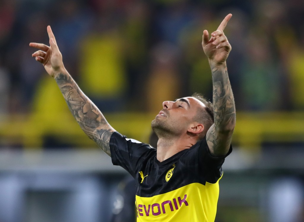 DORTMUND, GERMANY - AUGUST 03: Paco Alcacer of Borussia Dortmund celebrates after scoring his sides first goal during the DFL Supercup 2019 match between Borussia Dortmund and FC Bayern München at Signal Iduna Park on August 03, 2019 in Dortmund, Germany. (Photo by Martin Rose/Bongarts/Getty Images)