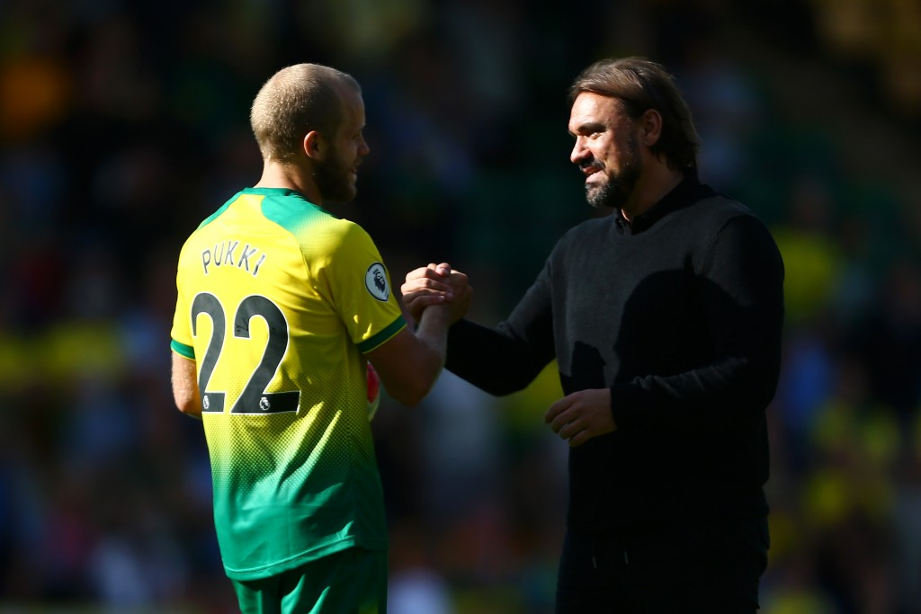 Daniel Farke will rely on his hit-man Teemu Pukki to produce the goods on Saturday. (Photo by Jordan Mansfield/Getty Images)