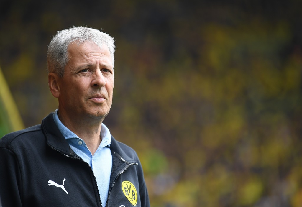 DORTMUND, GERMANY - AUGUST 17: Lucien Favre, head coach of Dortmund looks on during the Bundesliga match between Borussia Dortmund and FC Augsburg at Signal Iduna Park on August 17, 2019 in Dortmund, Germany. (Photo by Stuart Franklin/Bongarts/Getty Images)