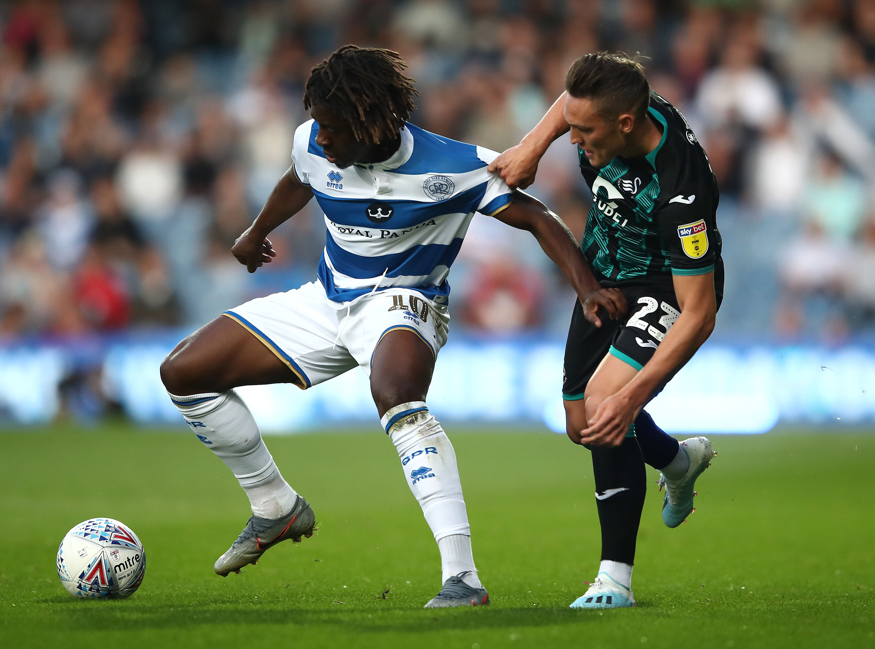 Eberechi Eze (R) is on the radar of Tottenham and Southampton. (Photo courtesy: AFP/Getty)