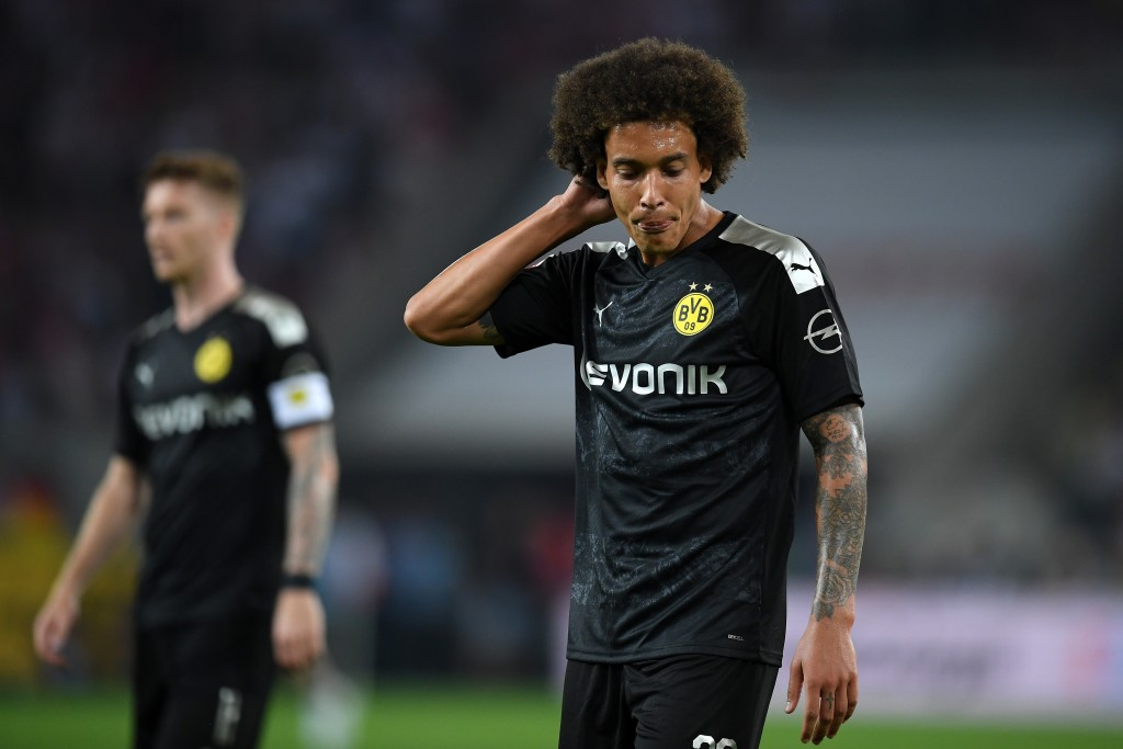 COLOGNE, GERMANY - AUGUST 23: Axel Witsel of Borussia Dortmund looks dejected during the Bundesliga match between 1. FC Koeln and Borussia Dortmund at RheinEnergieStadion on August 23, 2019 in Cologne, Germany. (Photo by Matthias Hangst/Bongarts/Getty Images)
