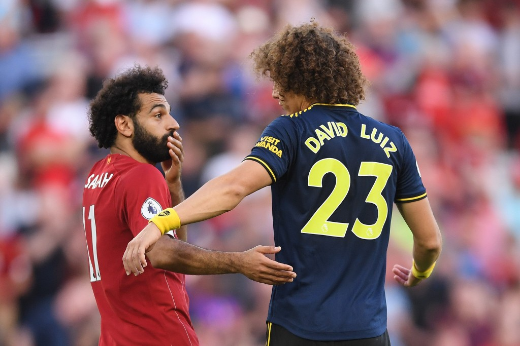 Luiz completely struggled to make his mark against Liverpool and Salah. (Photo by Laurence Griffiths/Getty Images)