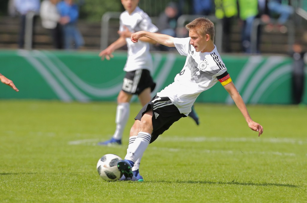 NORDHORN, GERMANY - MAY 03: Torben Rhein of Germany drives the ball during the international friendly match between U15 Germany and U15 Netherlands on May 3, 2018 in Nordhorn, Germany. (Photo by Juergen Schwarz/Bongarts/Getty Images)