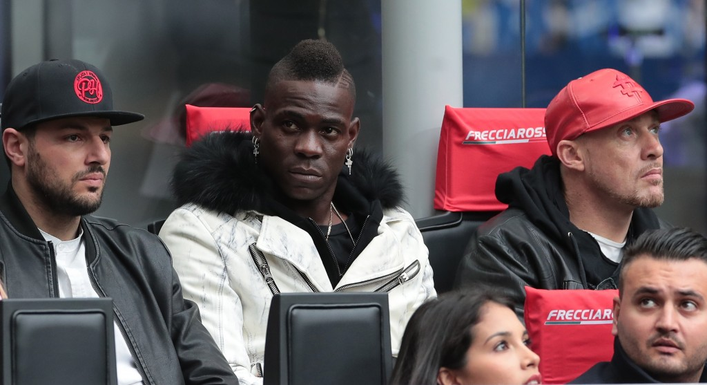 MILAN, ITALY - APRIL 07: Mario Balotelli attends during the Serie A match between FC Internazionale and Atalanta BC at Stadio Giuseppe Meazza on April 7, 2019 in Milan, Italy. (Photo by Emilio Andreoli/Getty Images )