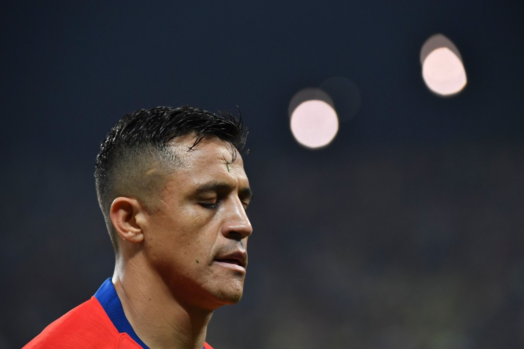 Chile's Alexis Sanchez is pictured during the Copa America football tournament quarter-final match against Colombia at the Corinthians Arena in Sao Paulo, Brazil, on June 28, 2019. (Photo by Nelson ALMEIDA / AFP) (Photo credit should read NELSON ALMEIDA/AFP/Getty Images)
