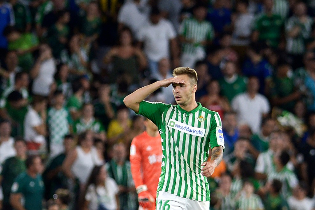 Real Betis' Spanish forward Loren Moron celebrates after scoring a goal during the Spanish League football match between Real Betis and Real Valladolid at the Benito Villamarin Stadium in Sevilla on August 18, 2019. (Photo by CRISTINA QUICLER / AFP) (Photo credit should read CRISTINA QUICLER/AFP/Getty Images)