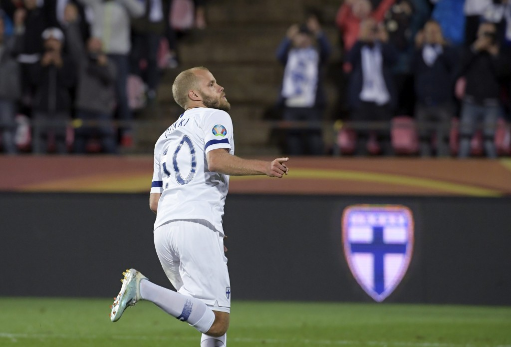 Can Italy stop Teemu Pukki? (Photo by Markku Ulander/AFP/Getty Images)