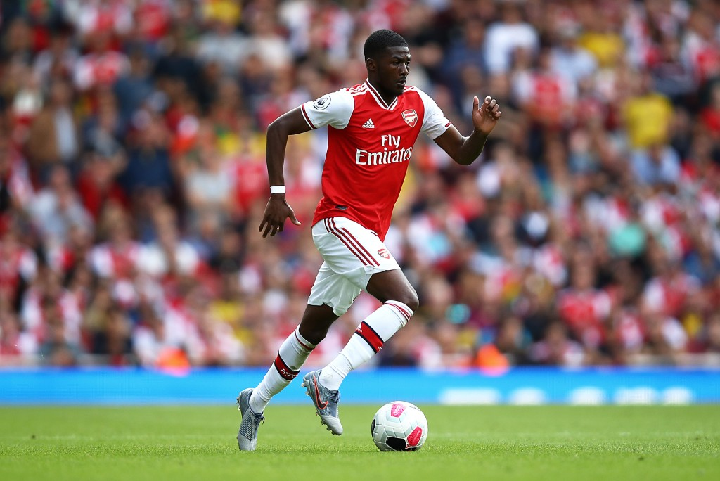 LONDON, ENGLAND - AUGUST 17: Ainsley Maitland-Niles of Arsenal during the Premier League match between Arsenal FC and Burnley FC at Emirates Stadium on August 17, 2019 in London, United Kingdom. (Photo by Julian Finney/Getty Images)