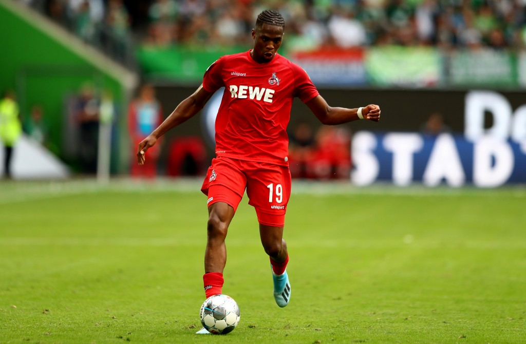 WOLFSBURG, GERMANY - AUGUST 17: Kingsley Ehizibue of Koeln runs with the ball during the Bundesliga match between VfL Wolfsburg and 1. FC Koeln at Volkswagen Arena on August 17, 2019 in Wolfsburg, Germany. (Photo by Martin Rose/Bongarts/Getty Images)
