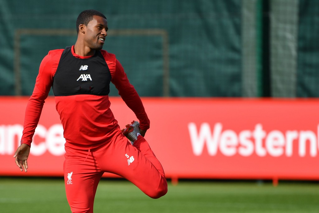 Liverpool's Dutch midfielder Georginio Wijnaldum takes part in a training session at their Melwood complex, Liverpool, north west England on the eve of their Champions league group stage football match against Napoli on September 16, 2019. (Photo by Paul ELLIS / AFP) (Photo credit should read PAUL ELLIS/AFP/Getty Images)