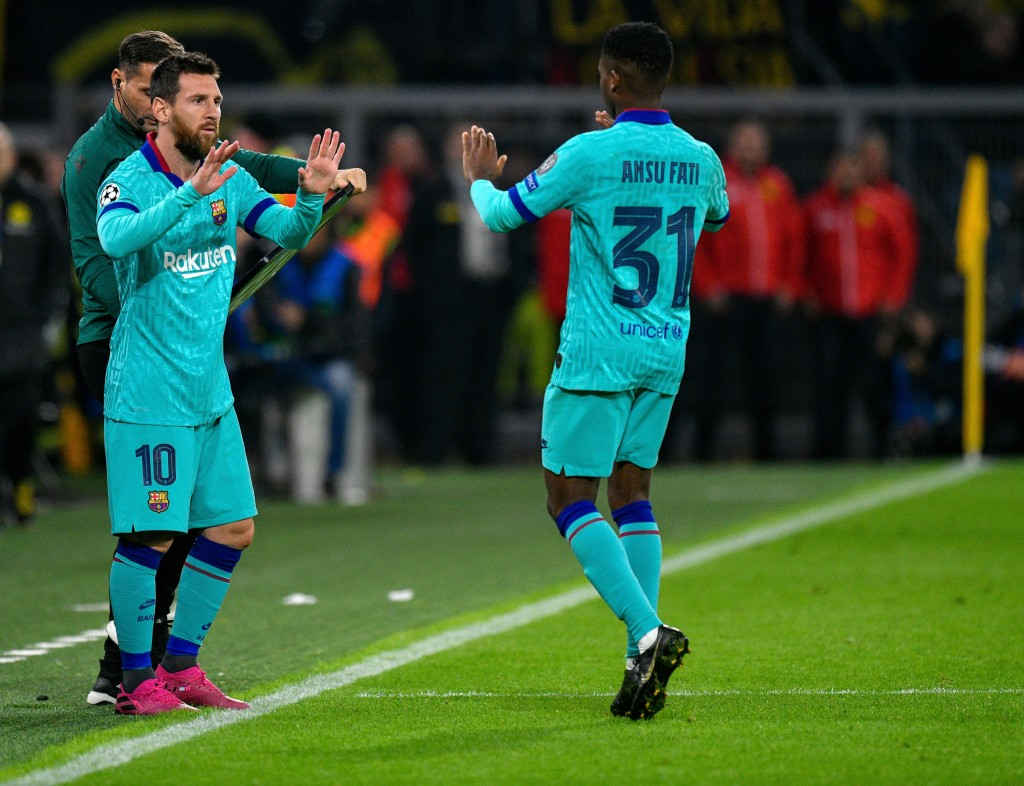 Is Ansu Fati ready to follow in Messi's footsteps? (Photo by SASCHA SCHUERMANN/AFP/Getty Images)