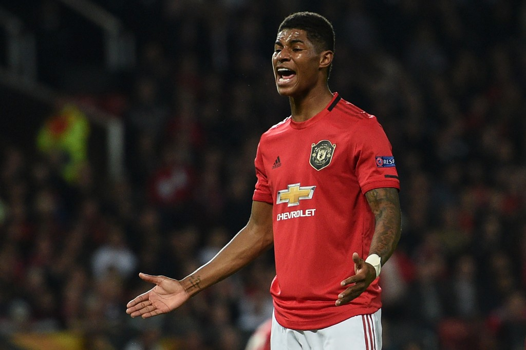 A frustrating evening for Rashford. (Photo by Oli Scarff/AFP/Getty Images)