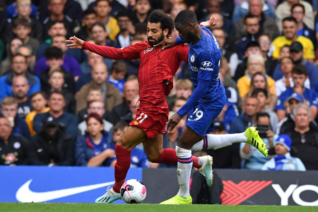 Tomori had the measure of Salah. (Photo by Ben Stansall/AFP/Getty Images)