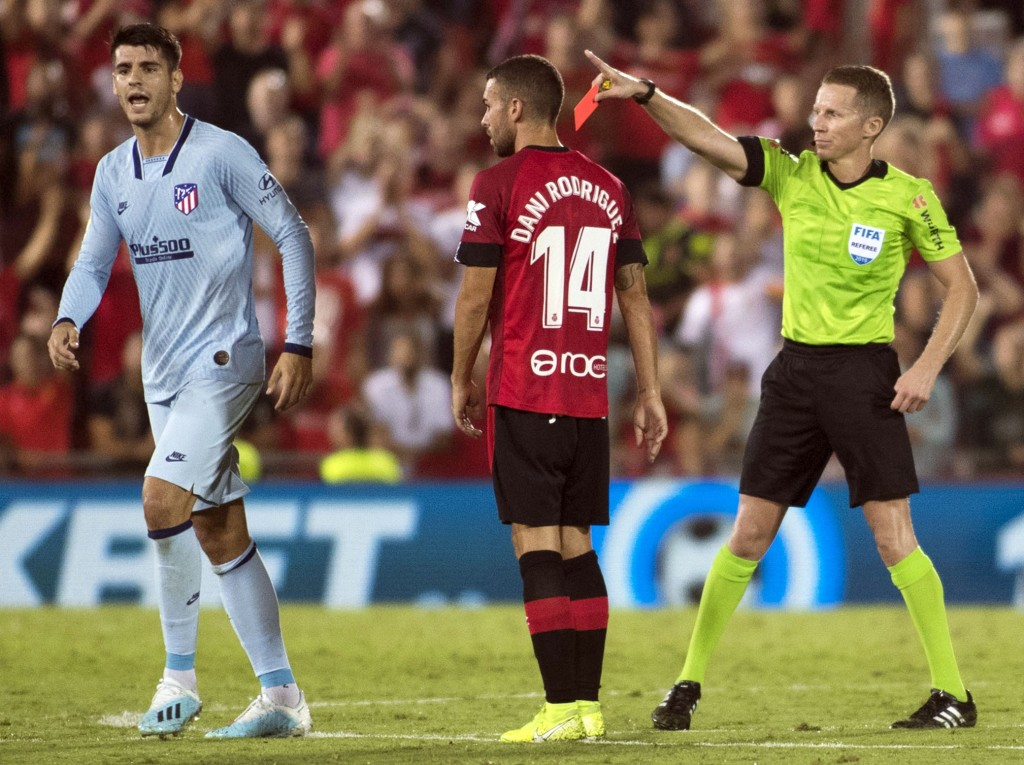 Alvaro Morata is suspended for the derby (Photo by JAIME REINA/AFP/Getty Images)