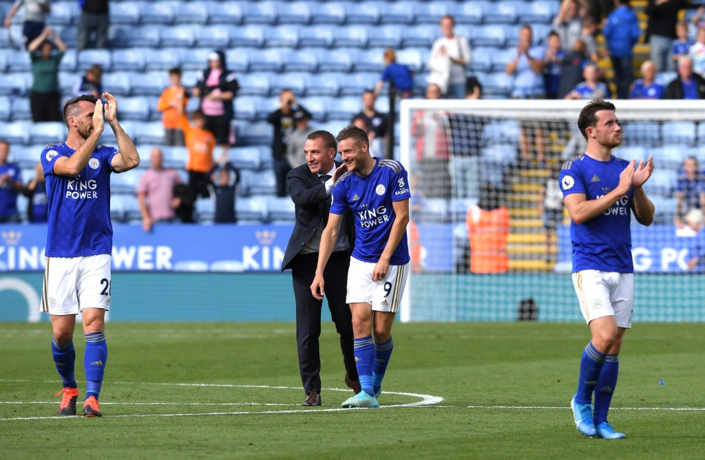 Can Vardy and Rodgers lead Leicester to their first win at Old Trafford since 1998? (Photo by Ross Kinnaird/Getty Images)