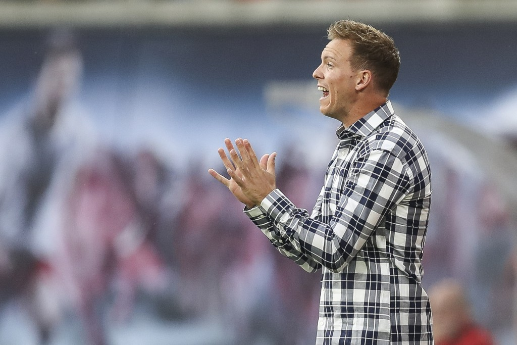 LEIPZIG, GERMANY - SEPTEMBER 14: Julian Nagelsmann head coach of RB Leipzig reacts during the Bundesliga match between RB Leipzig and FC Bayern Muenchen at Red Bull Arena on September 14, 2019 in Leipzig, Germany. (Photo by Maja Hitij/Bongarts/Getty Images)