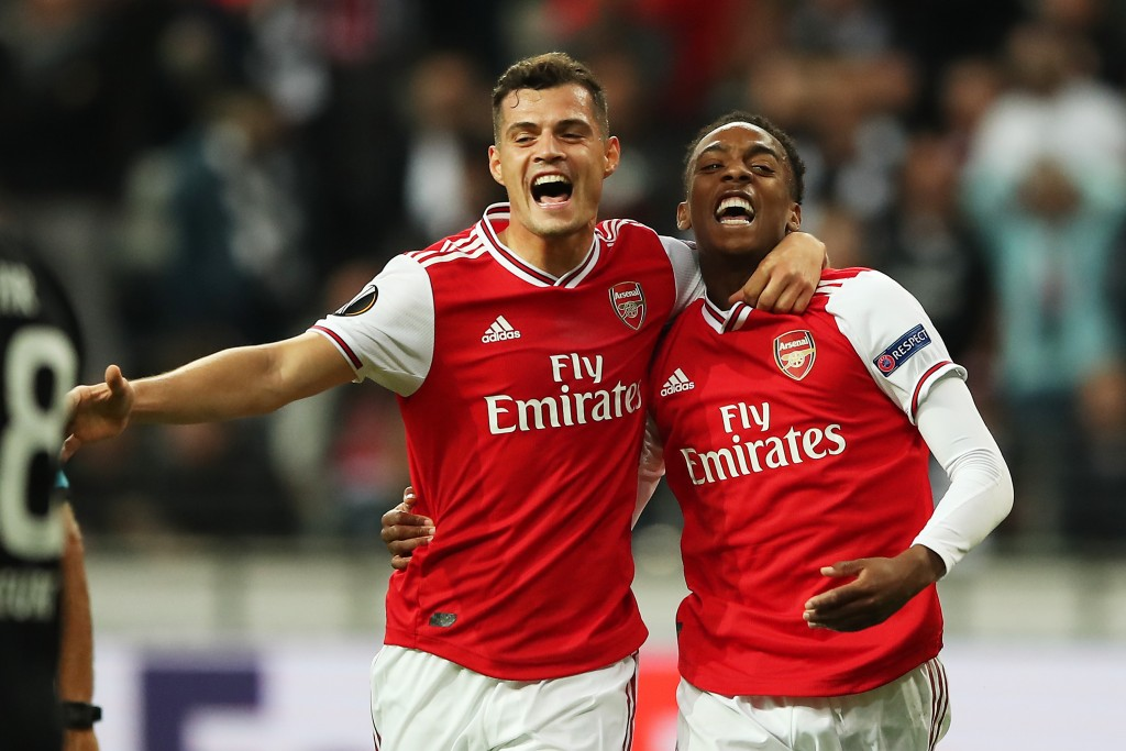 Granit Xhaka and Joe Willock were fantastic against Frankfurt. (Photo by Christian Kaspar-Bartke/Bongarts/Getty Images)