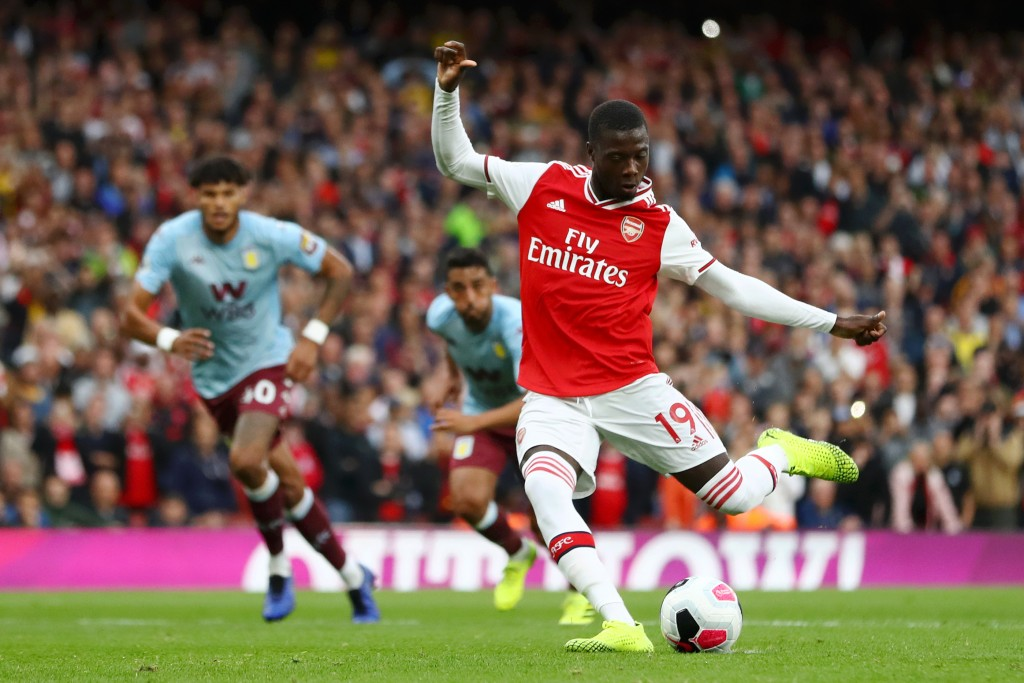 Nicolas Pepe scores his first goal for Arsenal. (Photo by Michael Steele/Getty Images)