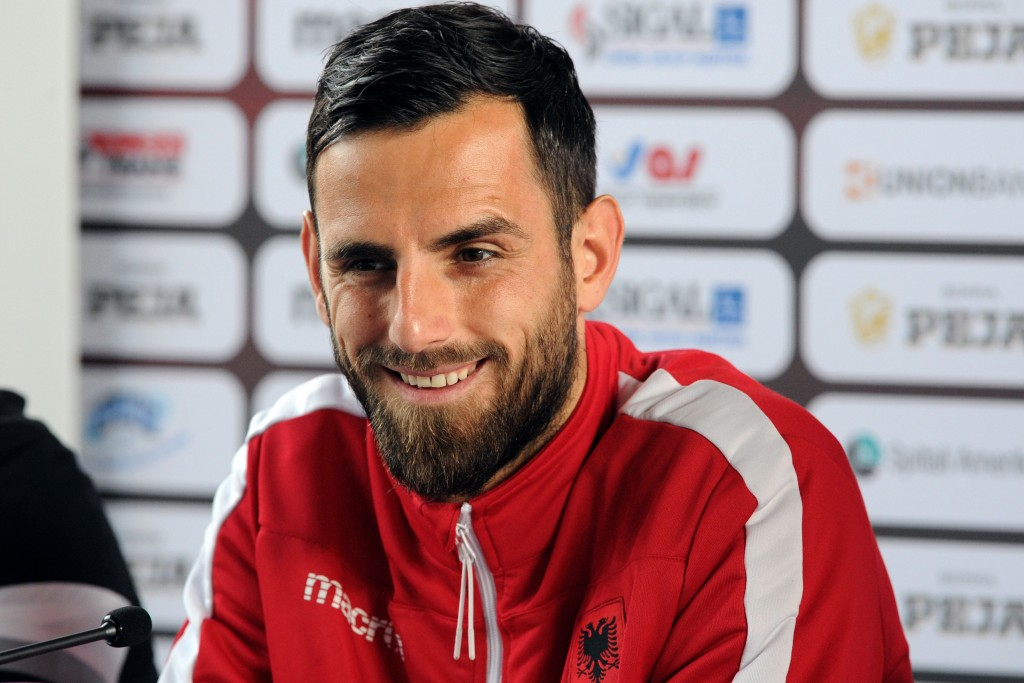 Albania's defender Mergim Mavraj holds a press conference in Perros-Guirec, western France, on June 12, 2016 during the Euro 2016 football tournament. / AFP / FRED TANNEAU (Photo credit should read FRED TANNEAU/AFP/Getty Images)