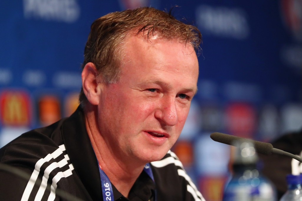 PARIS, FRANCE - JUNE 20: In this handout image provided by UEFA head coach Michael O'Neill of Northern Ireland attends a press conference at Parc des Princes on June 20, 2016 in Paris, France. (Photo by Handout/UEFA via Getty Images)