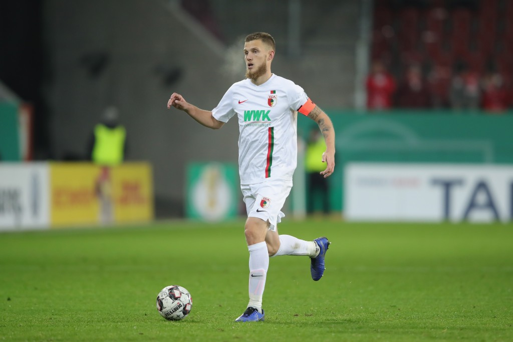 AUGSBURG, GERMANY - OCTOBER 30: Jeffrey Gouweleeuw of Augsburg runs with the ball during the DFB Cup match between FC Augsburg and 1. FSV Mainz 05 at WWK-Arena on October 30, 2018 in Augsburg, Germany. (Photo by Alexander Hassenstein/Bongarts/Getty Images)