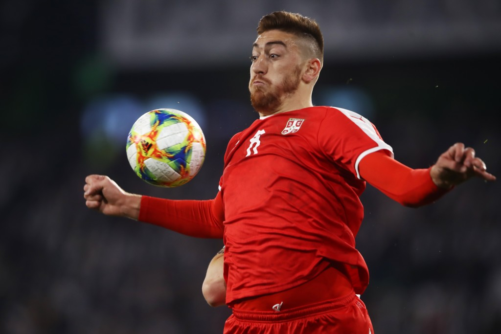 WOLFSBURG, GERMANY - MARCH 20: Milan Pavkov of Serbia controls the ball during the International Friendly match between Germany and Serbia at Volkswagen Arena on March 20, 2019 in Wolfsburg, Germany. (Photo by Alex Grimm/Getty Images)