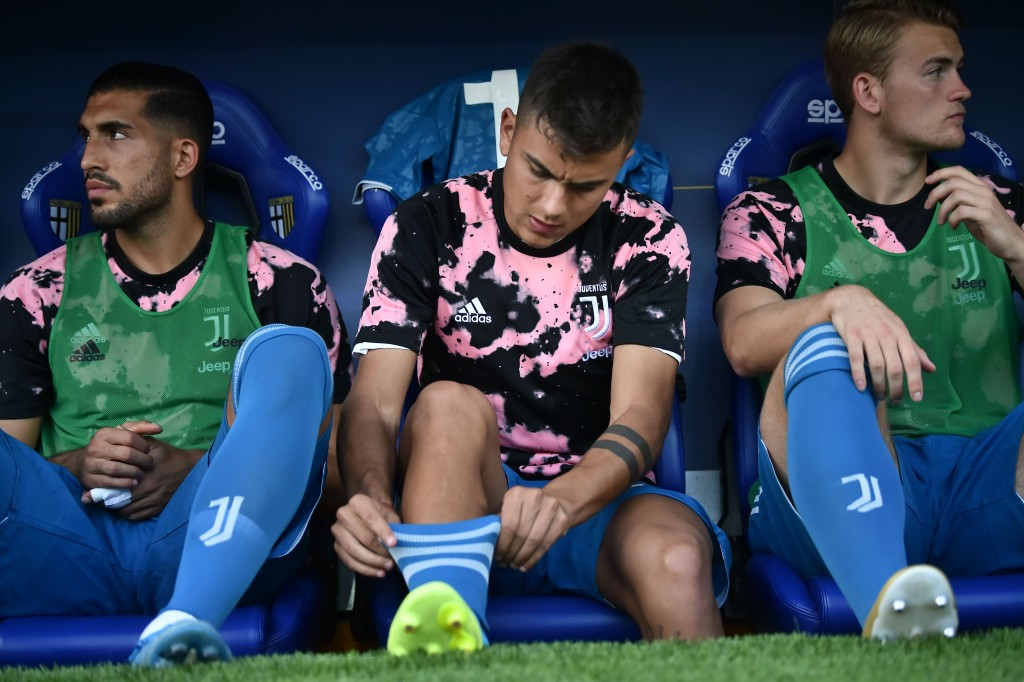 Can (L) has become a fixture on the bench at Juventus this season. (Photo by Marco Bertorello/AFP/Getty Images)
