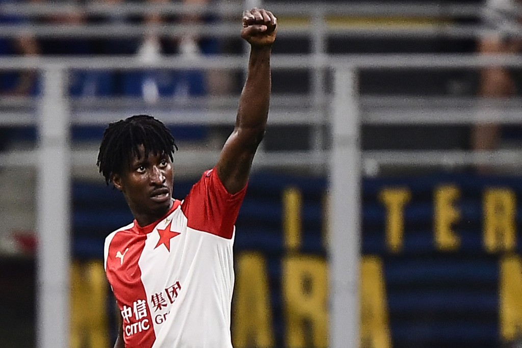 Slavia Prague's Nigerian forward Peter Olayinka celebrates after opening the scoring during the UEFA Champions League Group F football match Inter Milan vs Slavia Prague on September 17, 2019 at the San Siro stadium in Milan. (Photo by Marco Bertorello / AFP) (Photo credit should read MARCO BERTORELLO/AFP/Getty Images)