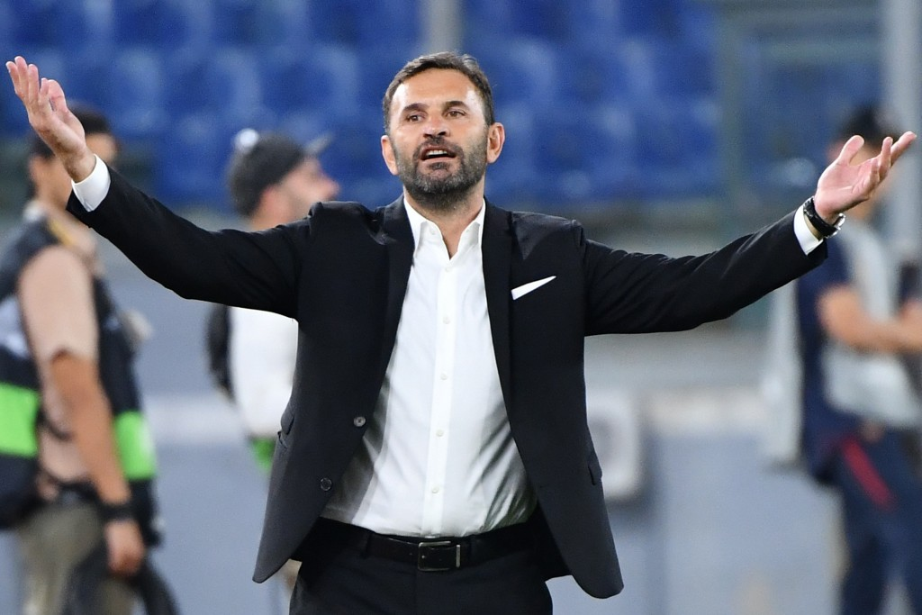Istanbul Basaksehir FK's Turkish head coach Okan Buruk reacts during the UEFA Europa League Group J football match AS Roma vs Istanbul Basaksehir on September 19, 2019 at the Olympic stadium in Rome. (Photo by Alberto PIZZOLI / AFP) (Photo credit should read ALBERTO PIZZOLI/AFP/Getty Images)