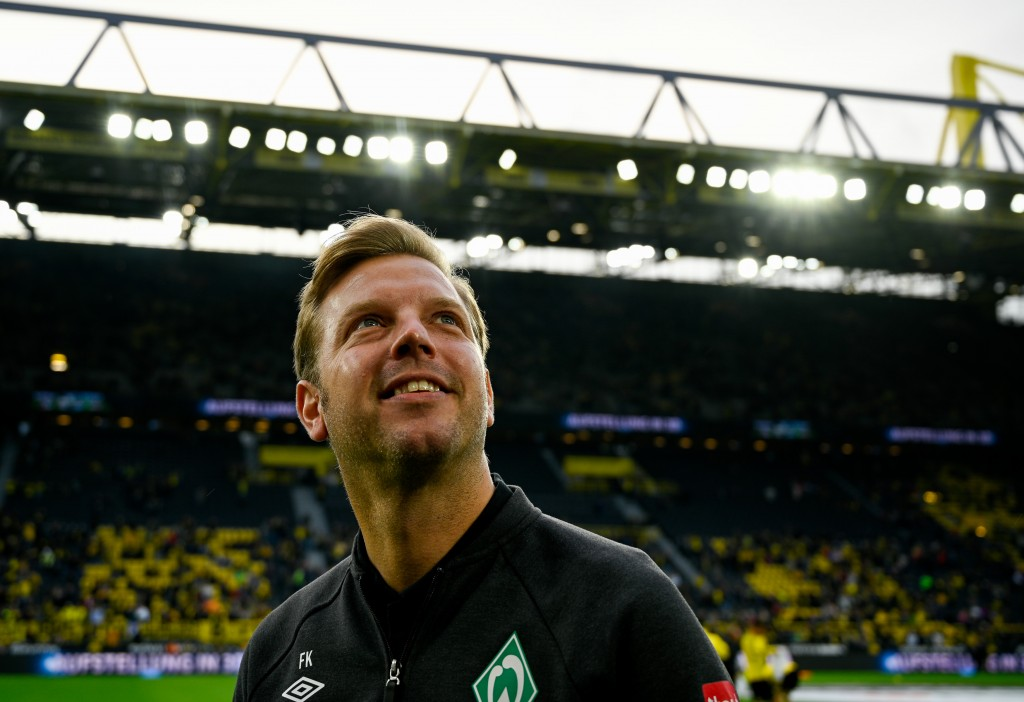 Bremen's German head coach Florian Kohfeldt looks on during the German first division Bundesliga football match BVB Borussia Dortmund v SV Werder Bremen in Dortmund, western Germany, on September 28, 2019. (Photo by SASCHA SCHUERMANN / AFP) / DFL REGULATIONS PROHIBIT ANY USE OF PHOTOGRAPHS AS IMAGE SEQUENCES AND/OR QUASI-VIDEO (Photo credit should read SASCHA SCHUERMANN/AFP/Getty Images)