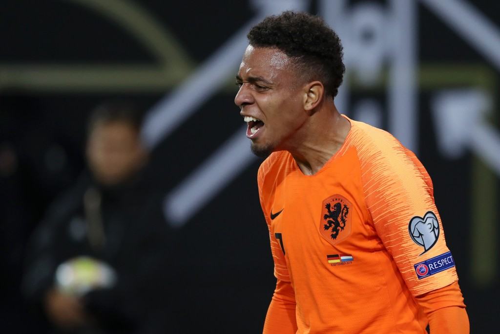 HAMBURG, GERMANY - SEPTEMBER 06: Donyell Malen celebrates after scoring his team's third goal during the UEFA Euro 2020 qualifier match between Germany and Netherlands at Volksparkstadion on September 06, 2019 in Hamburg, Germany. (Photo by Alexander Hassenstein/Bongarts/Getty Images)