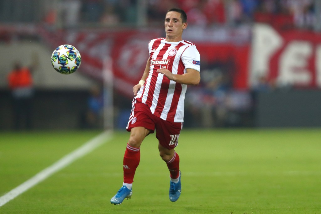 PIRAEUS, GREECE - SEPTEMBER 18: Daniel Podence of Olympiacos in action during the UEFA Champions League group B match between Olympiacos FC and Tottenham Hotspur at Karaiskakis Stadium on September 18, 2019 in Piraeus, Greece. (Photo by Dean Mouhtaropoulos/Getty Images)