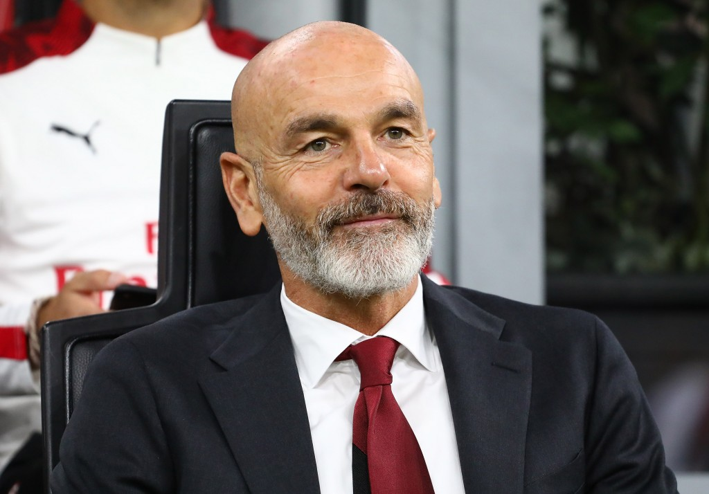 MILAN, ITALY - OCTOBER 20: AC Milan coach Stefano Pioli looks on before the Serie A match between AC Milan and US Lecce at Stadio Giuseppe Meazza on October 20, 2019 in Milan, Italy. (Photo by Marco Luzzani/Getty Images)