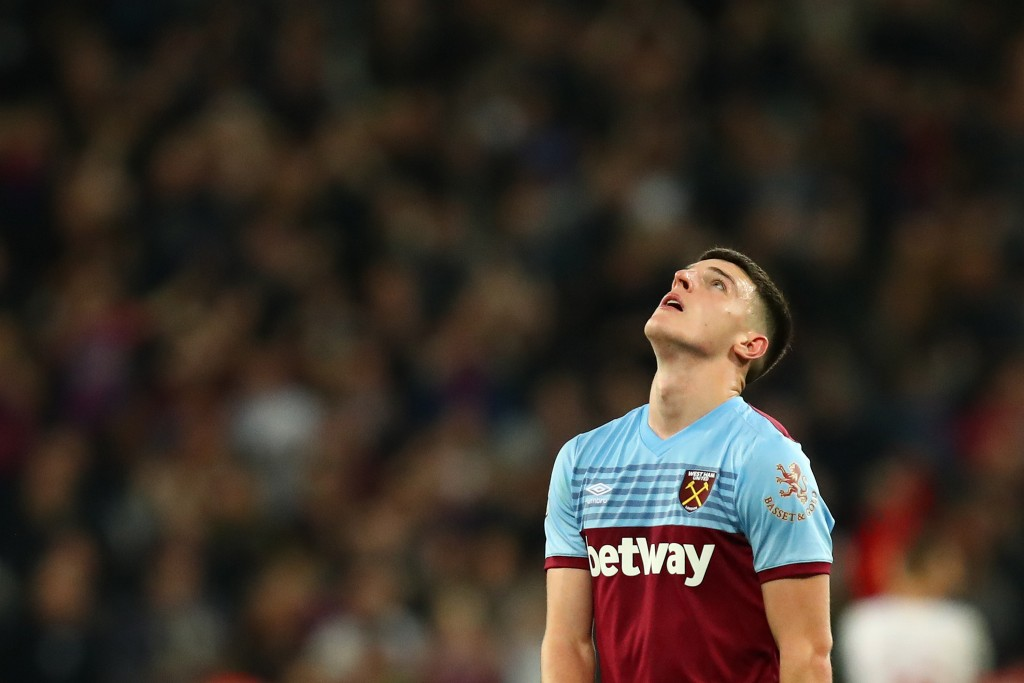 Declan Rice will not be available for West Ham United against Leicester City. (Photo by Julian Finney/Getty Images)