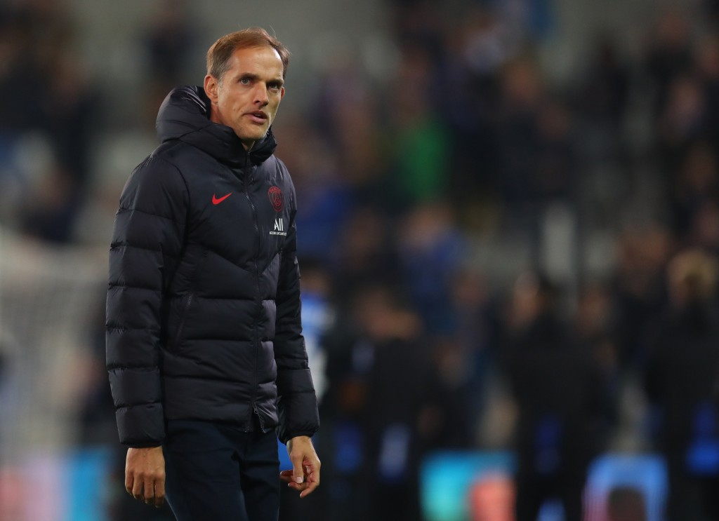 BRUGGE, BELGIUM - OCTOBER 22: Thomas Tuchel manager of Paris St Germain during the UEFA Champions League group A match between Club Brugge KV and Paris Saint-Germain at Jan Breydel Stadium on October 22, 2019 in Brugge, Belgium. (Photo by Catherine Ivill/Getty Images)