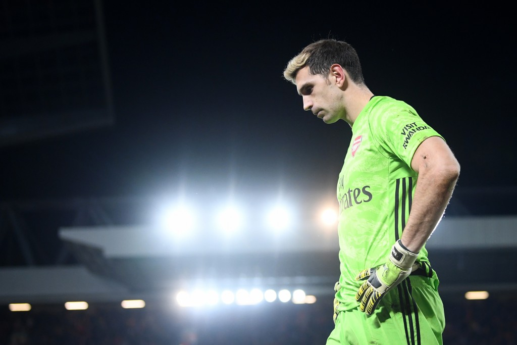 Emiliano Martinez will return to the Emirates with a point to prove. (Photo by Laurence Griffiths/Getty Images)