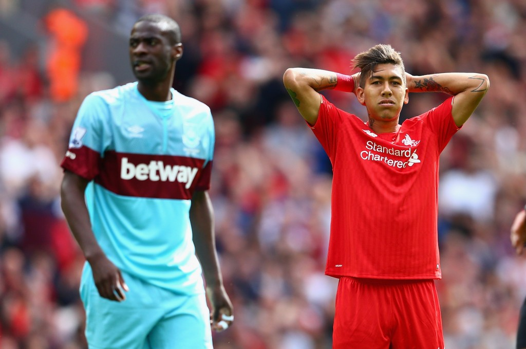 LIVERPOOL, ENGLAND - AUGUST 29: Roberto Firmino of Liverpool rues a missed opportunity during the Barclays Premier League match between Liverpool and West Ham United at Anfield on August 29, 2015 in Liverpool, United Kingdom. (Photo by Clive Mason/Getty Images)