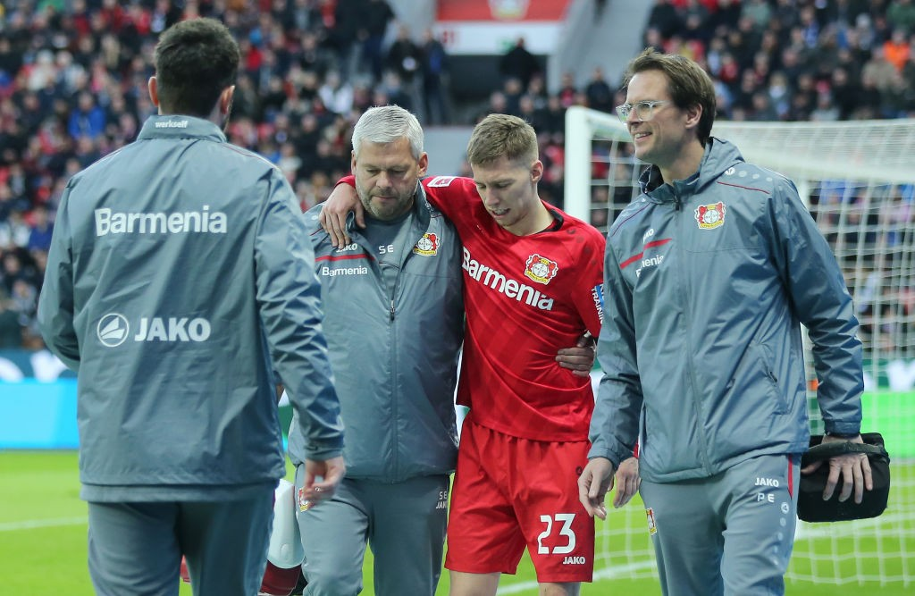Mitch weiser sustained an ankle injury in the match against Freiburg. (Photo by Christof Koepsel/Bongarts/Getty Images)