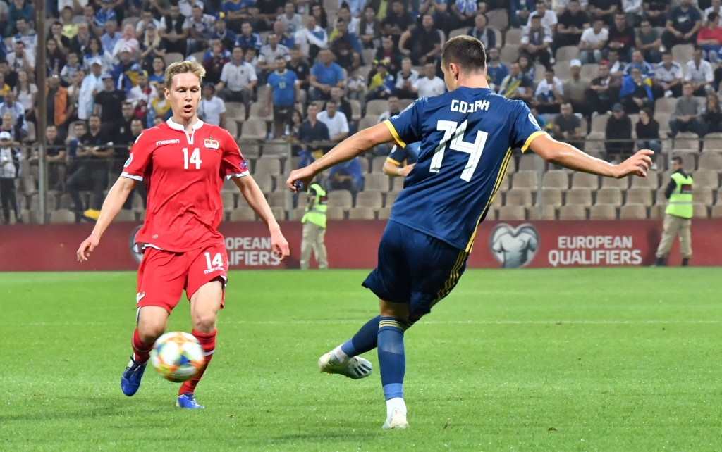 Amer Gojak will have the most important role as enforcer for Bosnia in midfield against Italy. (Picture Courtesy - AFP/Getty Images)