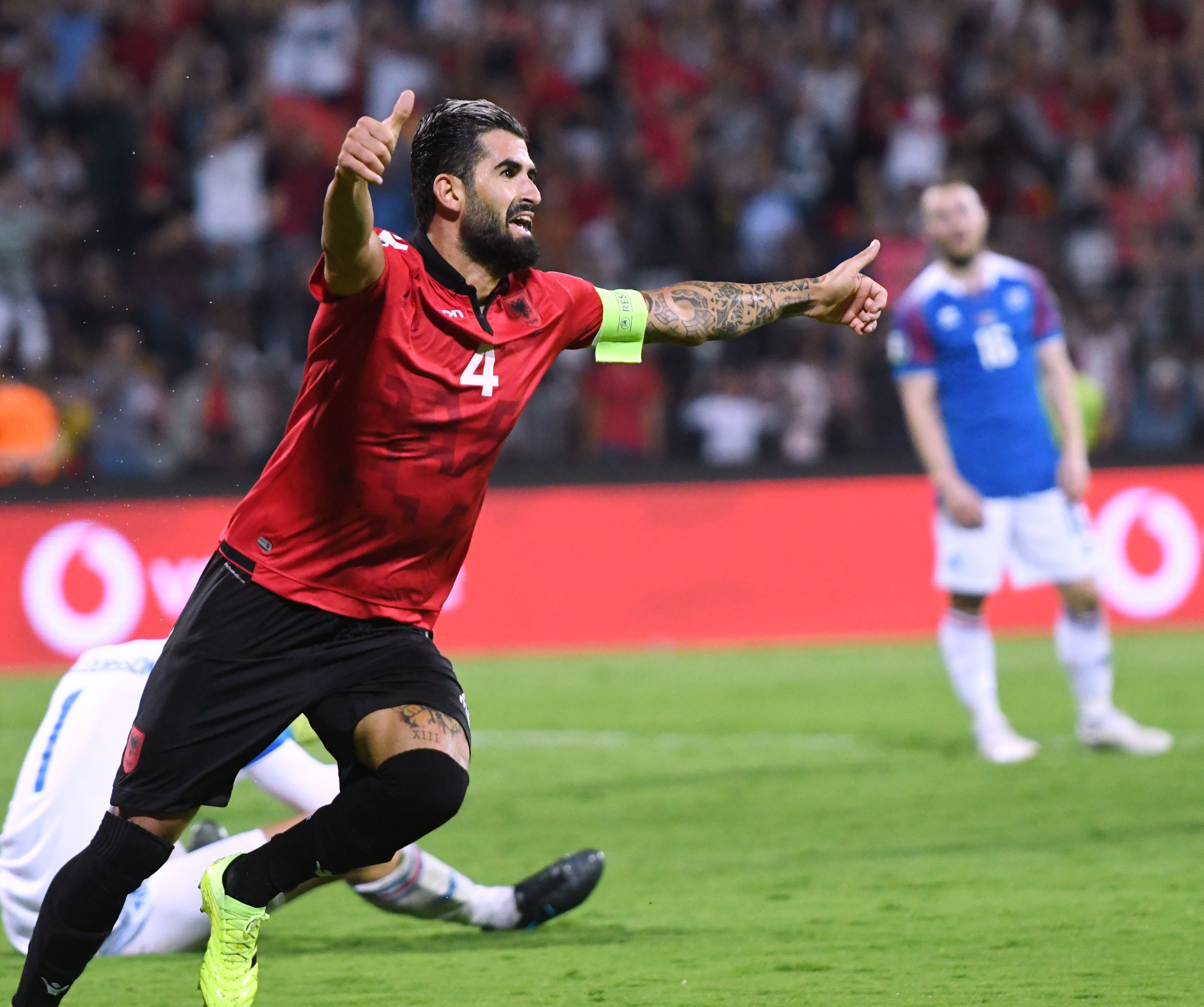 Albania's defender Elseid Hysaj set to return to the starting eleven. (Photo by Gent SHKULLAKU / AFP) (Photo credit should read GENT SHKULLAKU/AFP via Getty Images)