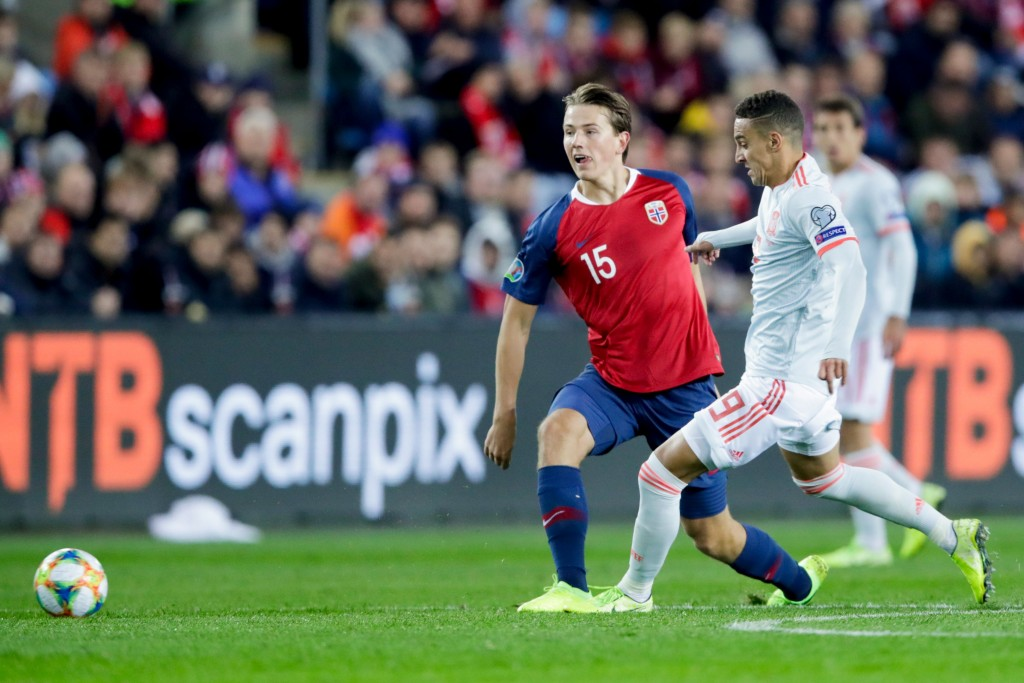 Sander Berge is being tailed by a number of top clubs. (Photo by Stian Lysberg Solum/NTB Scanpix/AFP via Getty Images)