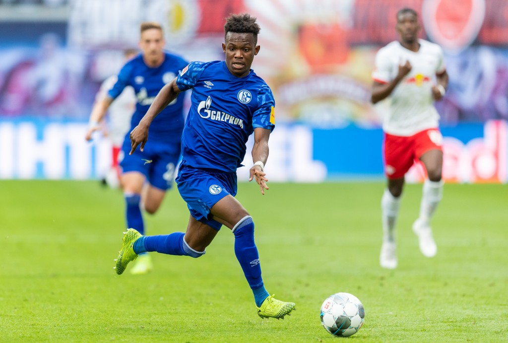 LEIPZIG, GERMANY - SEPTEMBER 28: Rabbi Matondo Baba of VfL Wolfsburg runs with the ball during the Bundesliga match between RB Leipzig and FC Schalke 04 at Red Bull Arena on September 28, 2019 in Leipzig, Germany. (Photo by Boris Streubel/Bongarts/Getty Images)
