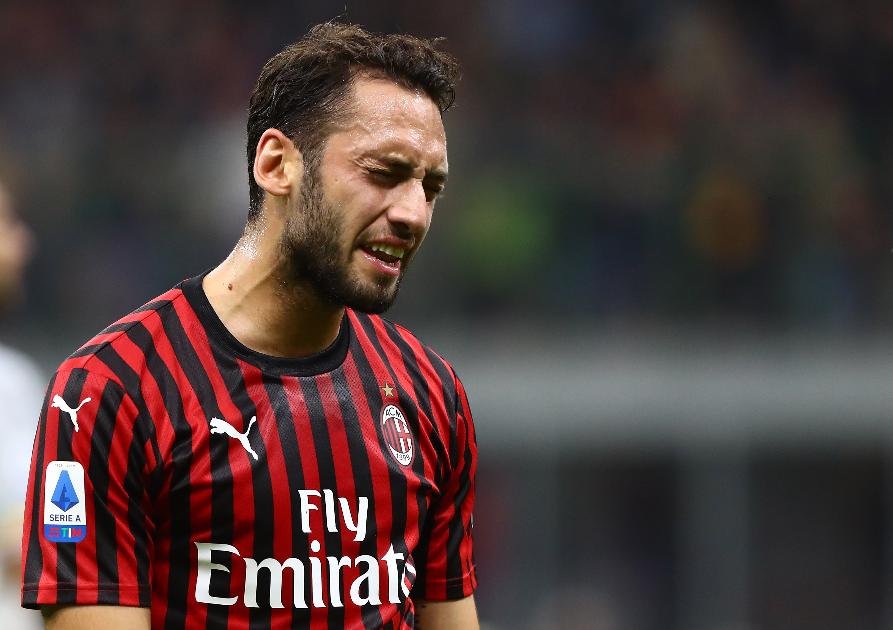 Hakan Calhanoglu is unavailable for AC Milan against Atalanta (Photo by Marco Luzzani/Getty Images)