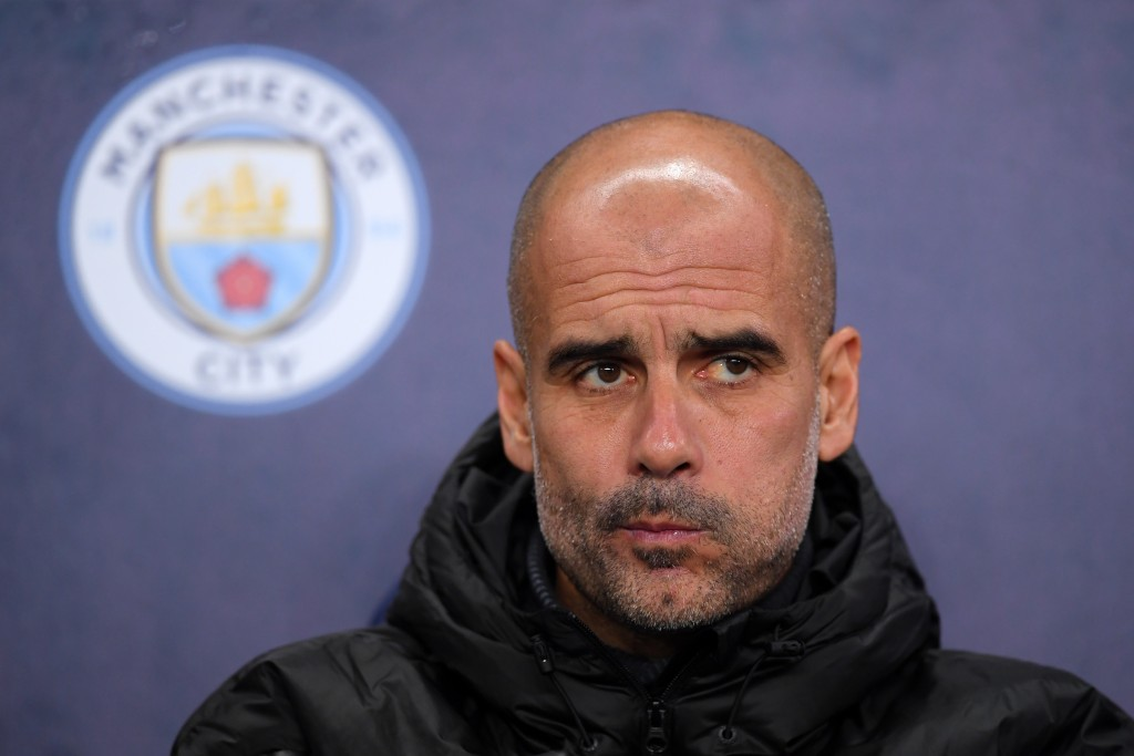 MANCHESTER, ENGLAND - NOVEMBER 26: Pep Guardiola, Manager of Manchester City looks on prior to the UEFA Champions League group C match between Manchester City and Shakhtar Donetsk at Etihad Stadium on November 26, 2019 in Manchester, United Kingdom. (Photo by Laurence Griffiths/Getty Images)