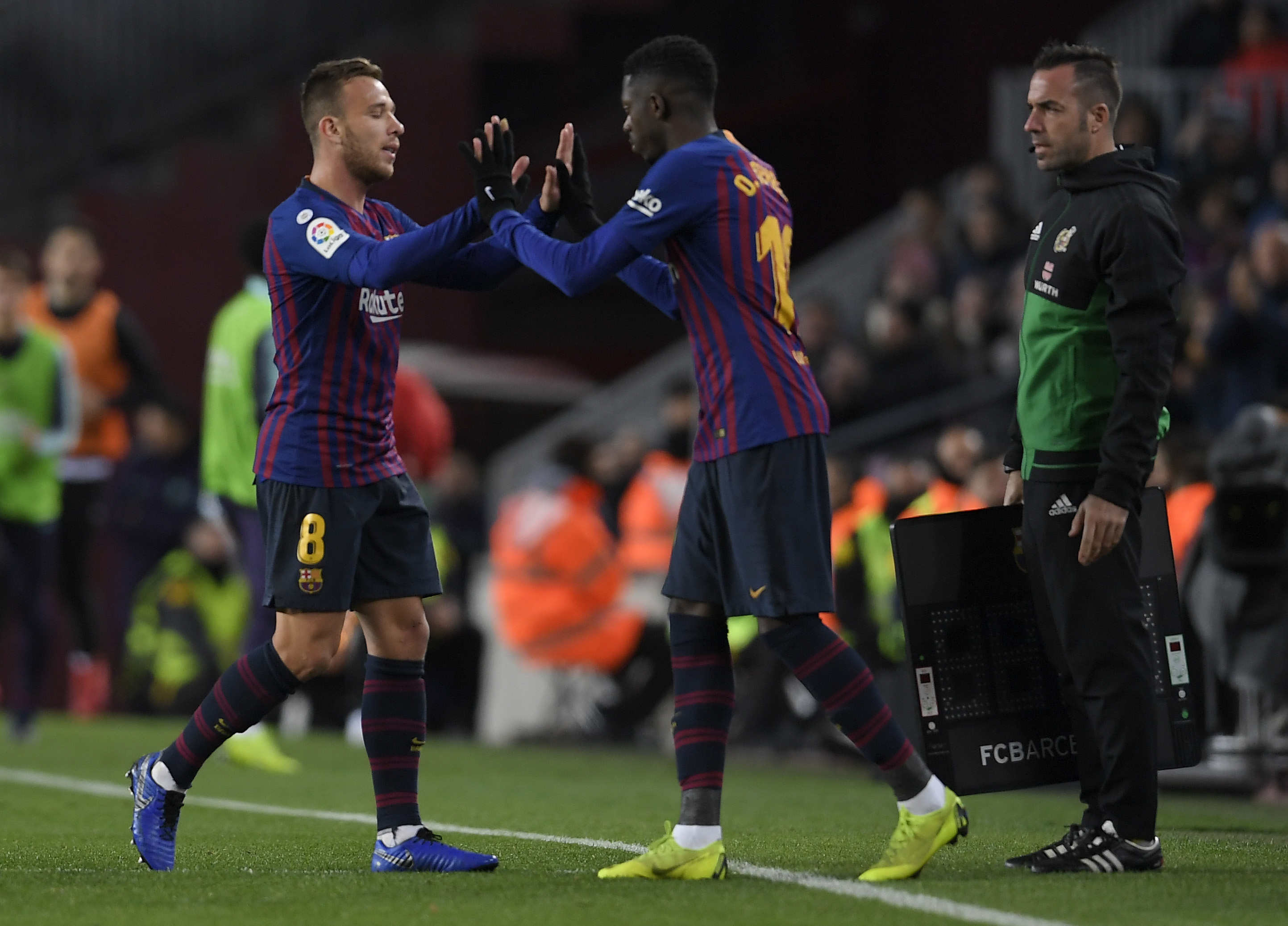 Arthur and Dembele are ruled out for Barcelona (Photo by LLUIS GENE/AFP via Getty Images)
